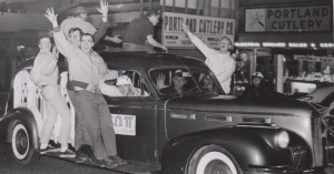 Homecoming Parade in downtown Portland, Bones driving, 1963 Log