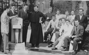 Fr. Maurice Rigley with Beacon Staff at Rigley Field, 1946