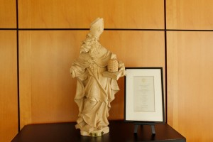 St. Ambrose Statue, Clark Library, 2014 (click to enlarge photo)