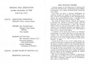 Dedication Program for Mehling Hall, November 22, 1964 (click to enlarge photo)