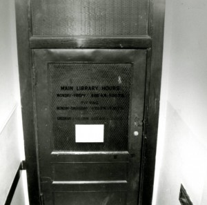 Christie Library entrance door, 1958