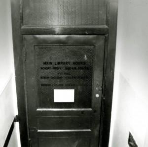 Christie Library entrance door, 1958