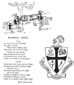 Columbia Prep Fight Song by Fr. George Dum, C.S.C., 1948 (click to enlarge photo)