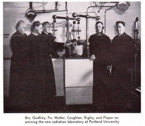 Fr. Rigley with Science legends, Fr. John Molter and Br. Godfrey Vassalo, 1953