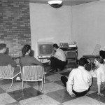Watching TV in Villa Maria Hall Lounge, 1957
