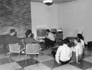 Watching TV in Villa Maria Hall Lounge, 1957
