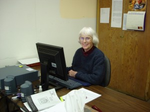 Martha at the Computer, December 2006 (University Archives -- Click to enlarge photo)