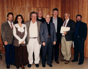 Schoenfeldt Series Tribute to Wallace Stegner. Barry Lopez, Terry Tempest Williams, William Kittredge, Br. Donald Stabrowski, CSC, Rev. Arthur Schoenfeldt, CSC, John Daniel, George Venn, James Hepworth, 1993 (University Archives)