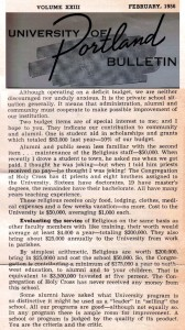 Fr. Howard Kenna text, University of Portland Bulletin, February 1956 (University Archives)