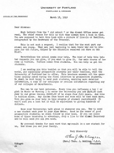 Fr. Mehling letter to alumni, March 18, 1949 (University Archives, BG81x4, file 7, document 109)