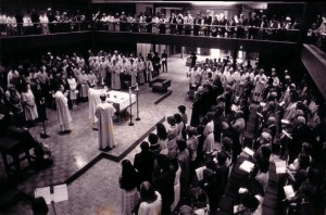 Dedication of Chapel of Christ the Teacher, October 5, 1986 (University Archives, click to enlarge photo)