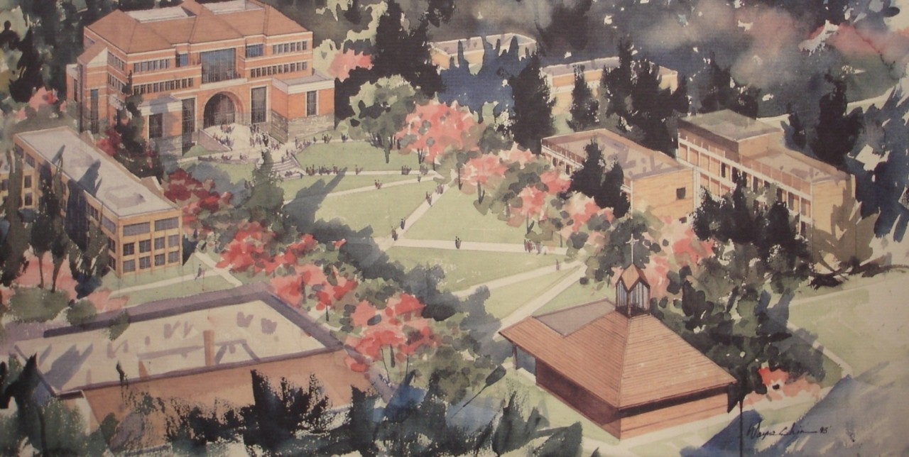 Academic Quad by Wayne Chin, 1993 (University Archives)