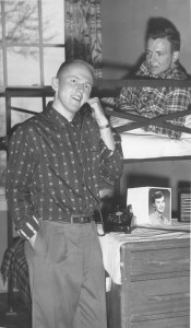 Don Gorger's private phone with roommate Jim Van Domelon looking on, 1957 (University Archives photo)