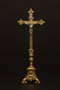 Altar Crucifix owned by Archbishop Alexander Christie, founder of the University of Portland. The Crucifix was later given to Rev. Edward P. Murphy, first President of the University, by Archbishop Christie around 1901.
