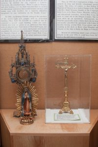 Monstrance, 1873; Altar Crucifix c.1901; Our Lady of Guadalupe.