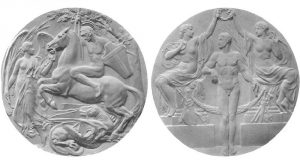 1908 London Olympic Event Medal (front and reverse) for first, second, and third place finishers (Wikipedia, Public Domain Image: published before 1923 and public domain in the U.S.)