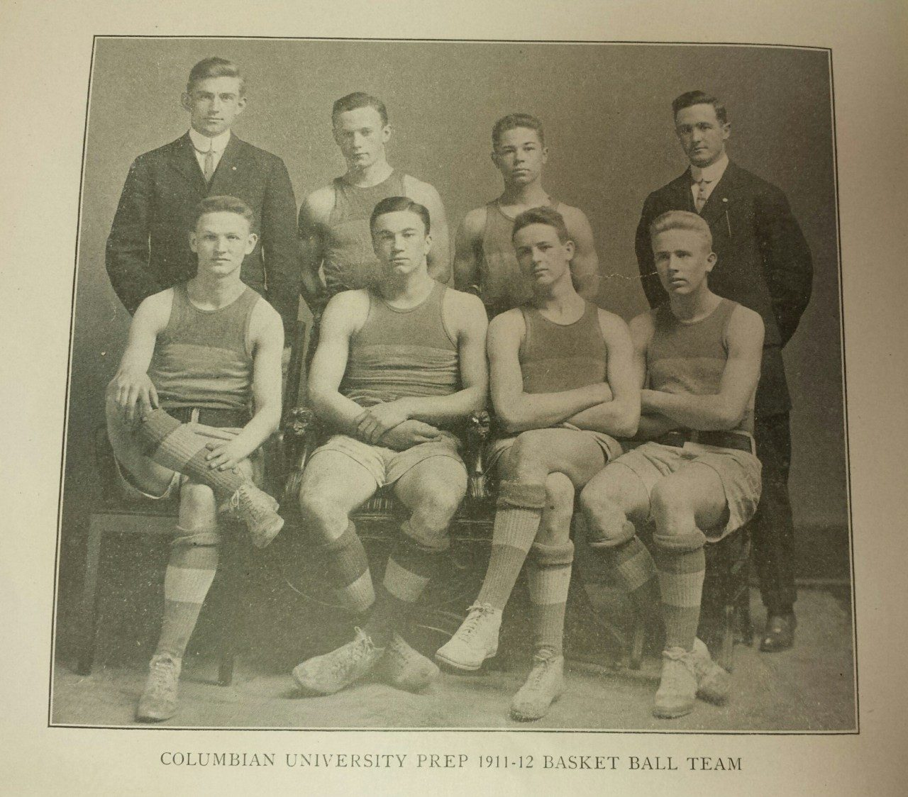 Columbia Preparatory School Basketball Team, 1911-12; Rudolph (Rudy) Scholz, 3rd from left in the back row (Columbiad, April 1912; University Museum photo)
