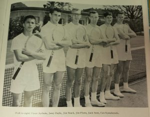 1955 Tennis Team, Log 1955 (University Archives, click to enlarge)