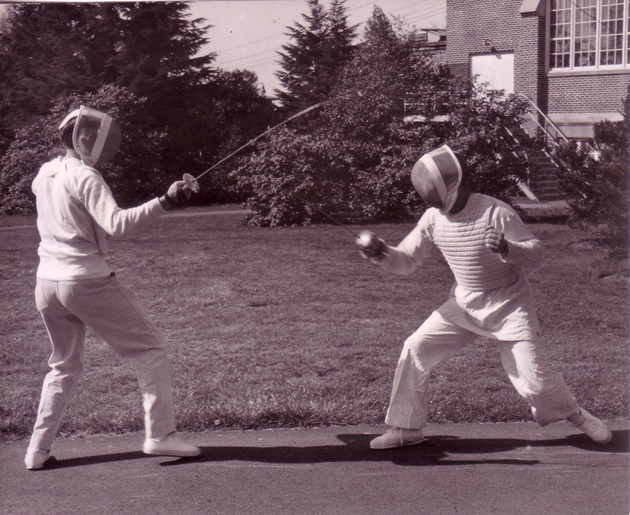 Fencing outside Howard Hall, 1965 (University Archives photo, click to enlarge)