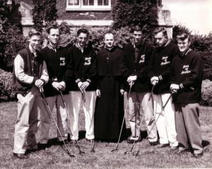 Golf Team with coach Rev. Clarence Durbin, C.S.C., 1956 (University Archives photo, click to enlarge)