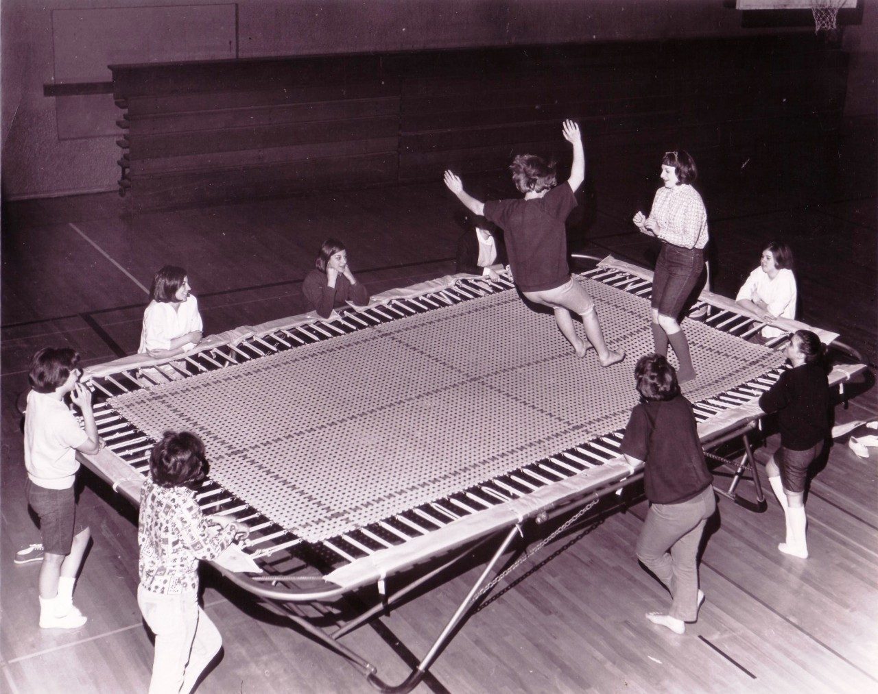 Women on trampoline in Howard Hall, 1965 (University Archives photo, click to enlarge)