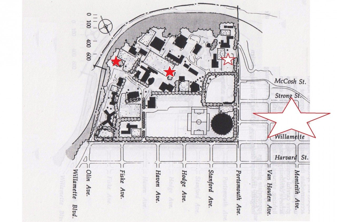 Campus Map, 1991 (University Archives, click to enlarge)