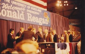 President Ronald Reagan Campaign Rally, University of Portland Chiles Center, October 23, 1984 (University Archives)