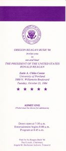 Admission for President Reagan Campaign Rally, October 23, 1984 (University Archives)