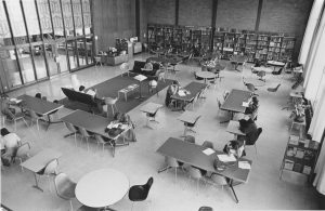 Library reference room, ca1958 (University Archives, click to enlarge)