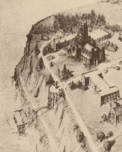 1927 detail, Gothic Chapel and Bluff river-stairs (University Archives, click to enlarge)