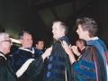 Fr. Lloyd Teske, C.S.C., Dr. Thompson Faller, Fr. John Chaplin,  Dr. Rich Gritta, 1989 commencement