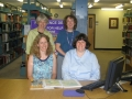 Caroline Mann with reference librarians, Heidi Senior, Diane Sotak, Stephanie Michel, 2006