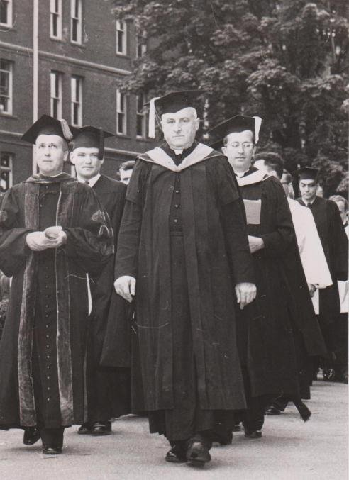 Fr. Ambrose Wheeler, C.S.C.; Brother Godfrey Vassallo, C.S.C. (University Archives)