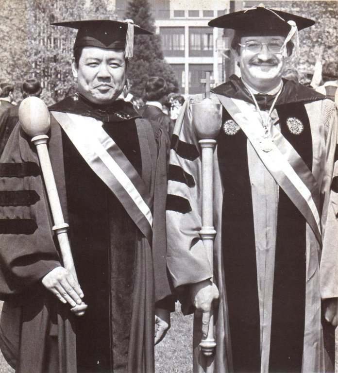 Dr. George Chou; Dr. Manuel Macias, 1977 Commencement (University Archives)