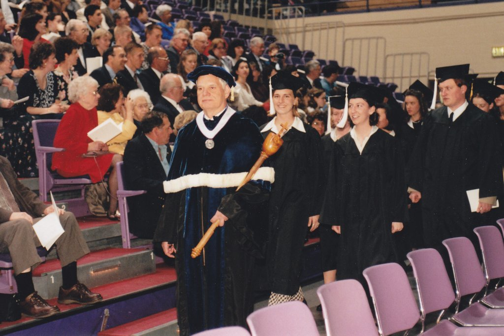 Dr. Thompson Faller, 1997 Commencement (University Archives)