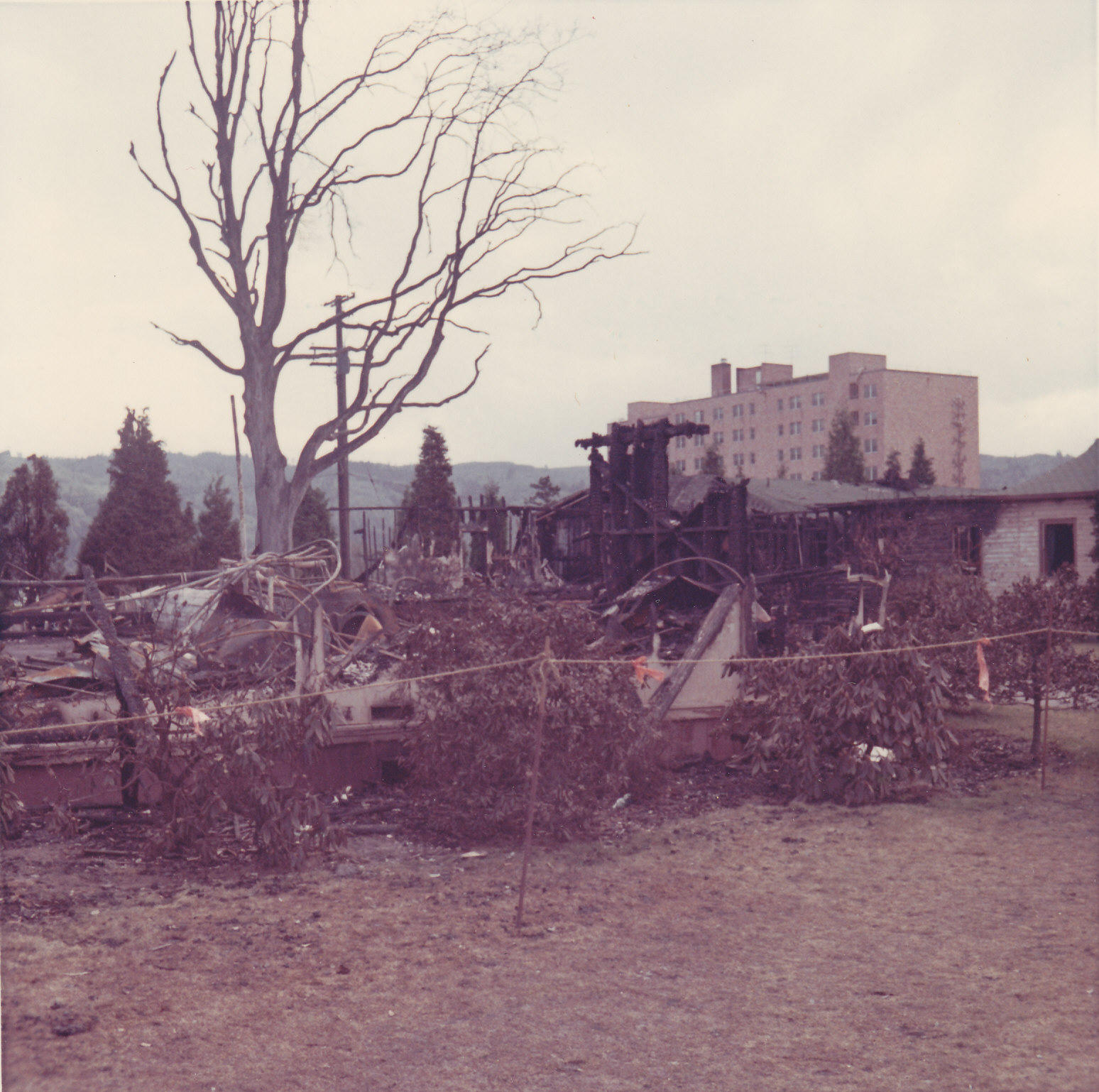 Aftermath of the fire, photo by Fr. Michael Heppen, C.S.C., April 18, 1969