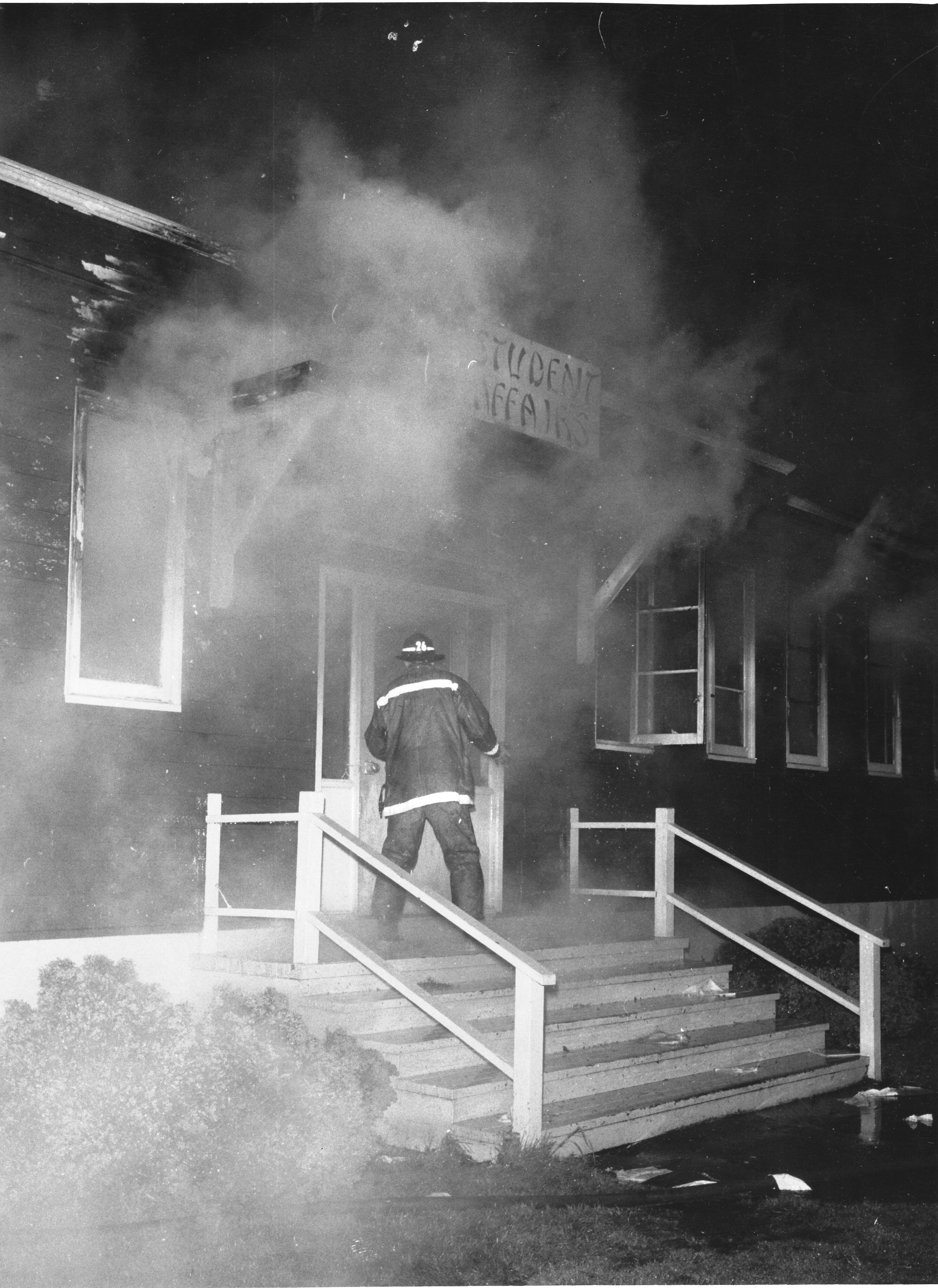 Student Affairs Building on fire, April 18, 1969