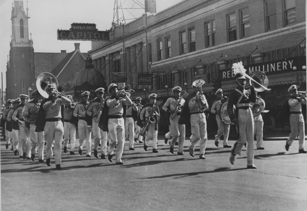 UP Band in downtown Portland, ca1940