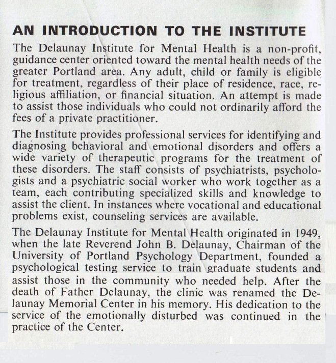 Delaunay Institute for Mental Health Brochure, 1987