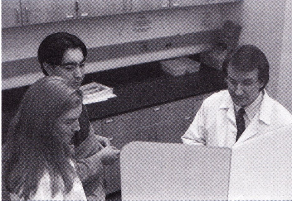 Dr. David Alexander with students, 2002