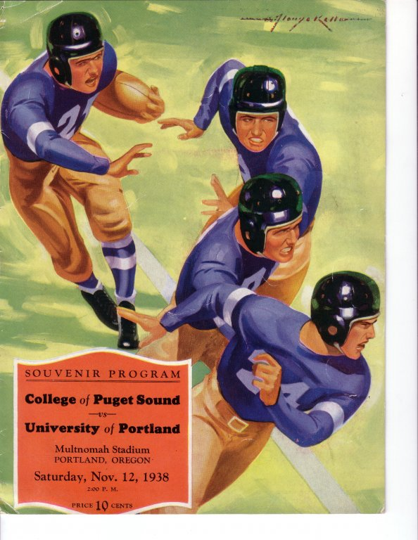 Program for University of Portland vs University of Puget Sound game, 1938
