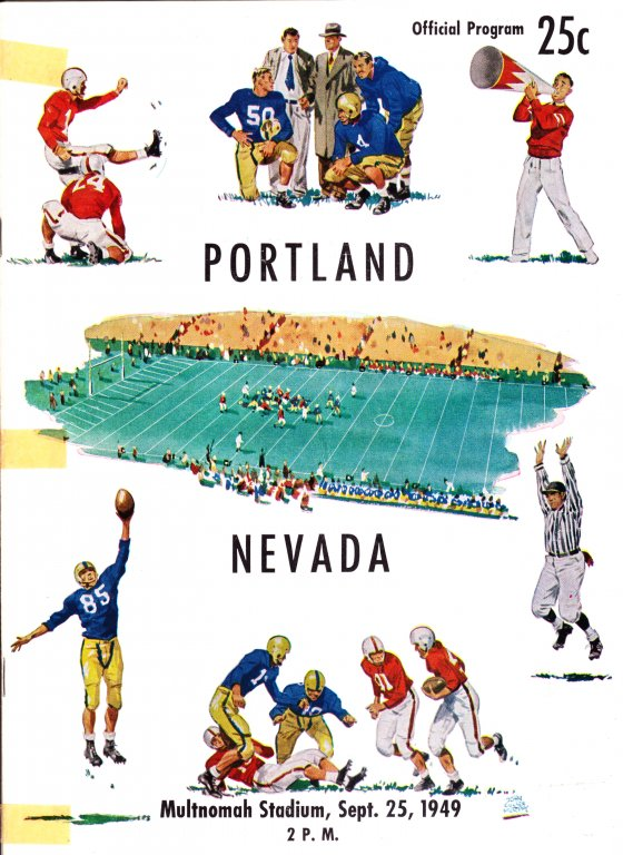 Program for University of Portland vs Nevada Football Game, September 25, 1949
