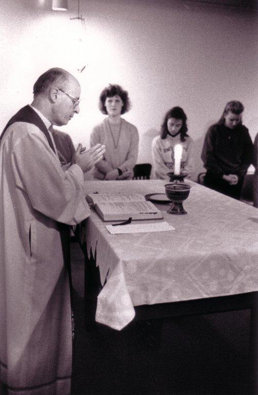 Fr. Schoenfeldt presides over a Hall Mass, no date