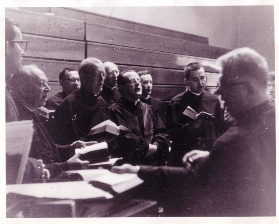 Holy Cross Group singing with Fr. George Dum, 1962