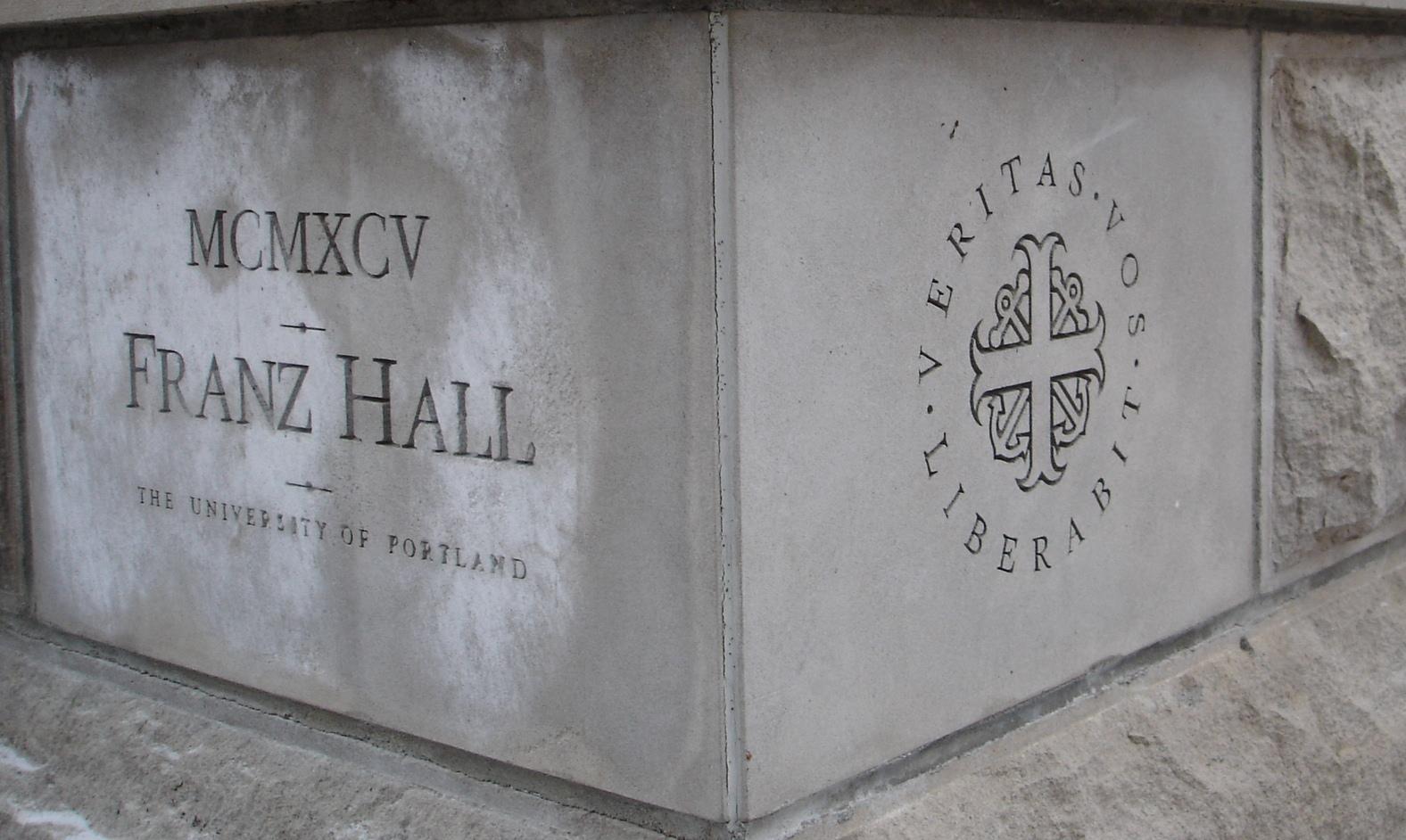Franz Hall cornerstone, 1995