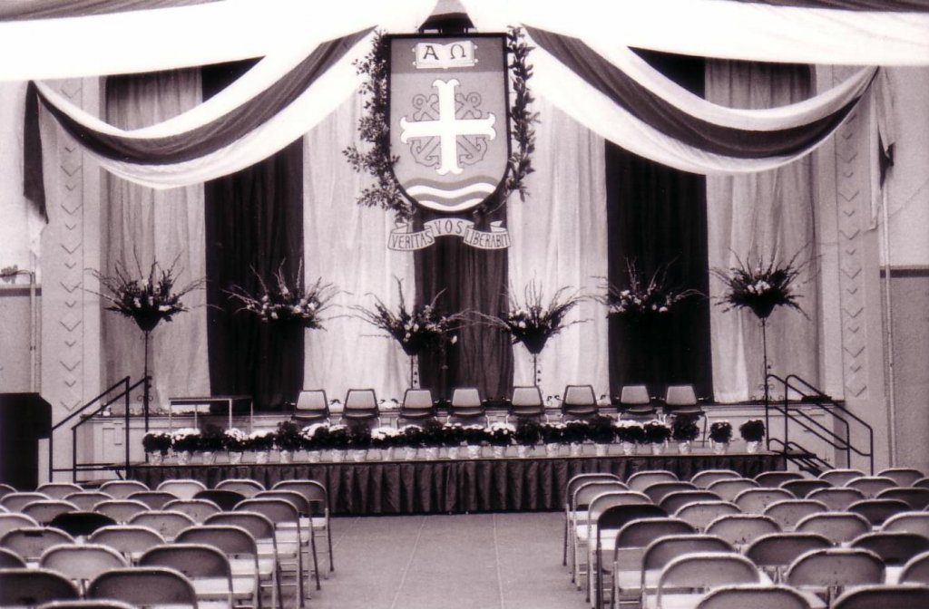 Howard Hall 1960 ca S5 commencement setup