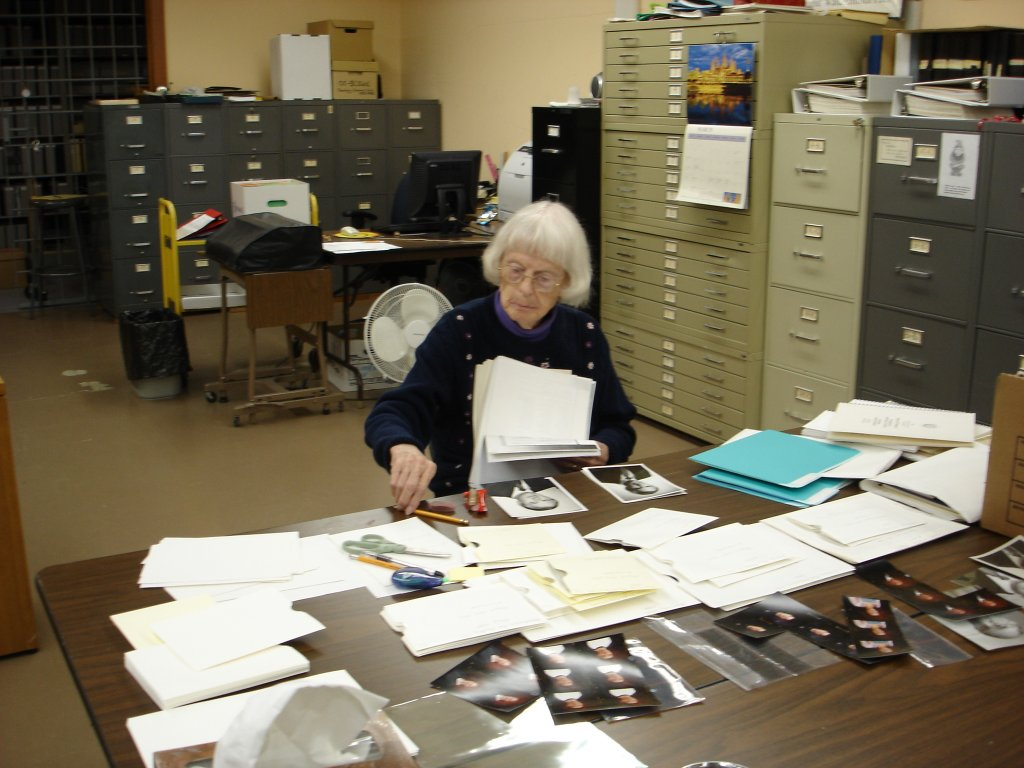 Martha Wachsmuth, identifying archives photos, July 2008