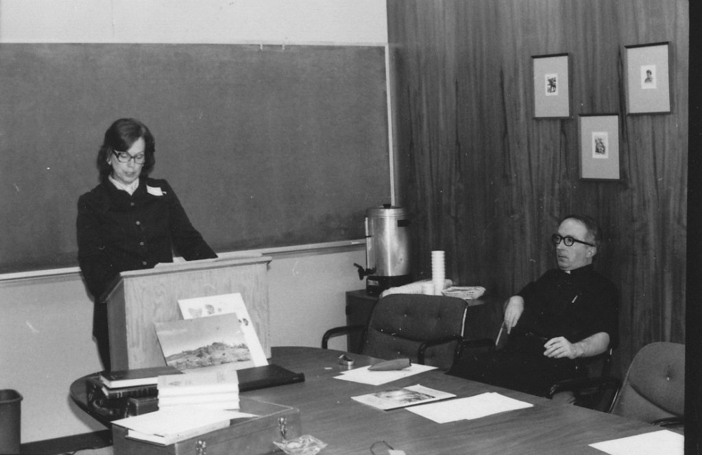 Martha Wachsmuth delivering Fr. Barry Hagan's Paper at Pacific NW CAMP, 1975