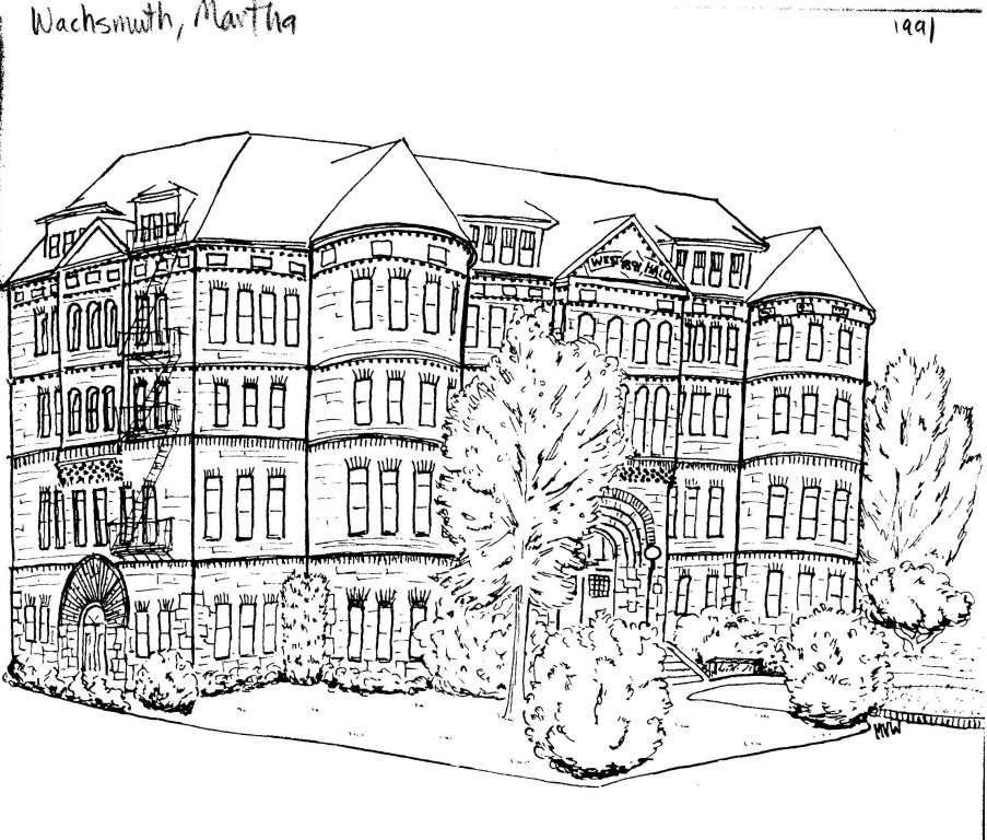 West Hall, drawn by Martha Wachsmuth, 1991