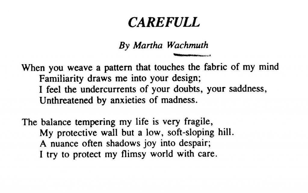 Martha's Poem in University of Portland Writers, Fall 1989
